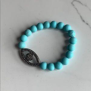 Marlyn Schiff Turquoise Beaded Evil Eye Bracelet